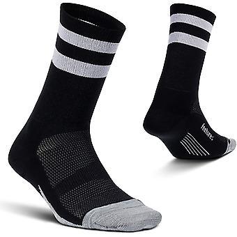 Feetures Elite Light Cushioned Mini Crew Unisex Running Socks, Black High Top Stripe - Large
