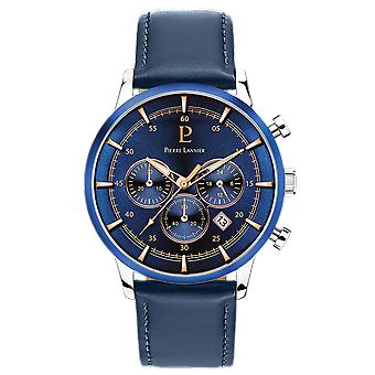 Pierre Lannier 224G 166 - klocka kronograf läder blå Man