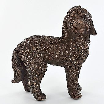 Cockapoo hund stående kall gjuten bronsskulptur