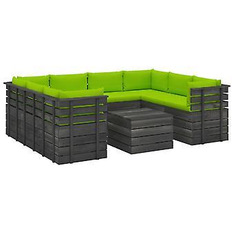 vidaXL 9 pcs. Garden sofa set made of pallets with cushions pine wood