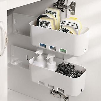 Multifunksjonell hengende oppbevaringskurv, veggmontert kjøkkenskuffhyllestativ