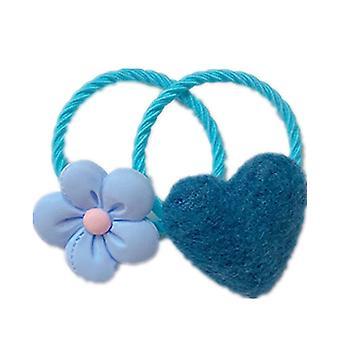 10SET 2pcs / Set Chicas encantadoras Bandas de cabello elásticos Dulce Caramelo Flor De Pelo Cuerda Corazón Lazos de Pelo Niños