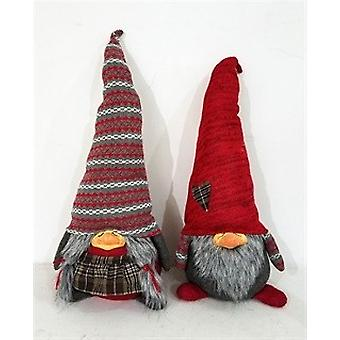 Red and Gray Holiday Plaid Girl Gnome