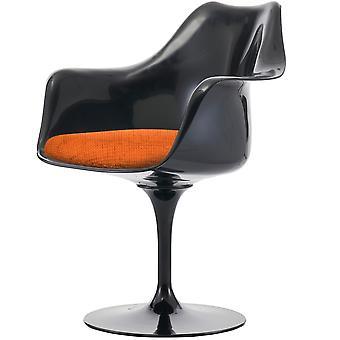 Fusion Living kiiltävä musta ja kuvioitu oranssi kääntö nojatuoli