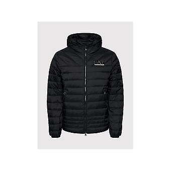 Emporio Armani EA7 Lightweight Down Padded Zip Up Black Hooded Jacket