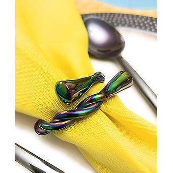 Arco-Íris Twist-set de 6 anéis de guardanapo