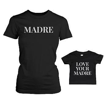 Мадре рубашку для мама любовь ваш Мадре день матери младенца Tee соответствия наряды