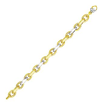 14k Two-Tone Gold Oval en Graduated Link Armband