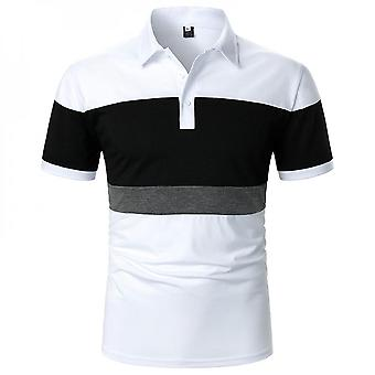 Men Color Matching Short Sleeve Polo Shirt Slim Fit Tops Blouse Pullover T-shirt