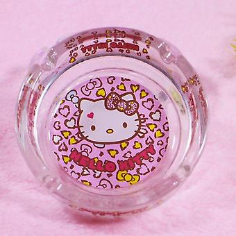 Schattige cartoon glazen asbak decoratieve lade transparant kristal glas