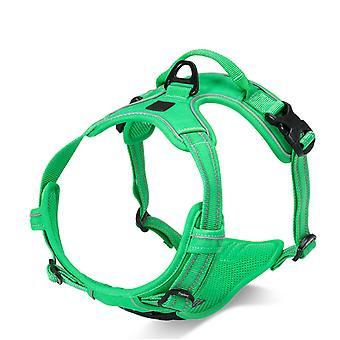 Arnés de pecho para perros medianos para evitar que se rompan, cinta reflectante ajustable a prueba de explosiones de cinturón de lixiviación (busto 56-69cm) Hierba verde