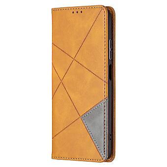 Étui pour Xiaomi Redmi Note 10 Pro Flip Cover Épissage Pu Cuir - Jaune