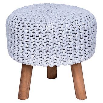 Käsintehty puuvilla punottu jakkara neulottu ottomaani Pouf Jalka lepo pehmeät istuimet Valkoinen