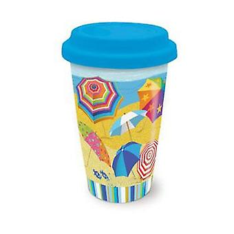 Kust-strand-paraplu's op Parade Koffie Latte thee Cerarmic reizen Mok met deksel