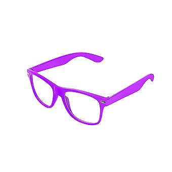 Retro Vintage Colour Unisex Punk Geek Wayfare Style Zero Number Clear Lens Glasses Eyewear - Purple