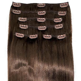 #6 Natural Brunette - Clip-in Hair Extensions - Full Head