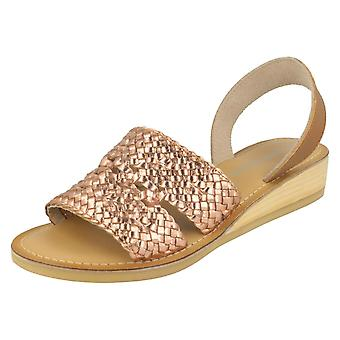 Ladies Leather Collection Low Wedge Weave Slingback Mules F00078