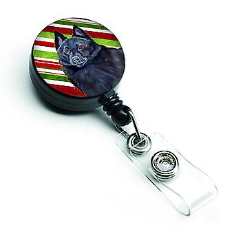 Schipperke Candy Cane Holiday Christmas Retractable Badge Reel