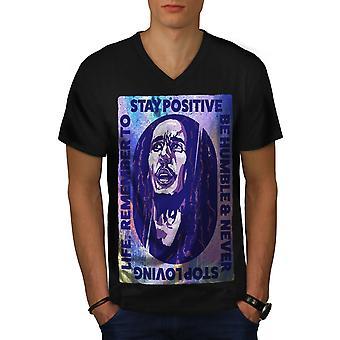 42 Celebrity Bob Marley Men BlackV-Neck T-shirt | Wellcoda