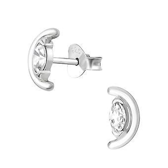 Полу круг - 925 стерлингового серебра кубического циркония уха шпильки - W36146x