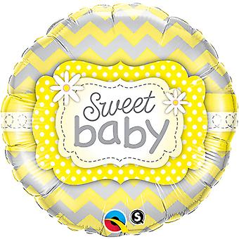 Qualatex 18 Inch Round Baby Boy/Girl Sweet Baby Foil Balloon