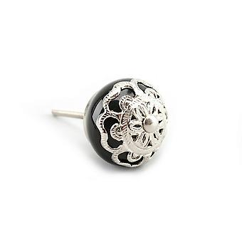 CGB Giftware Black And Silver Filigree Drawer Handle