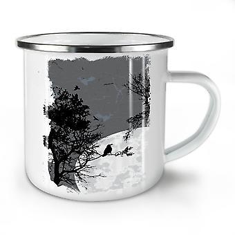 Night Raven Crow Nature NEW WhiteTea Coffee Enamel Mug10 oz | Wellcoda