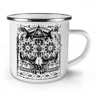 Triangle Psycho Skull NEW WhiteTea Coffee Enamel Mug10 oz | Wellcoda