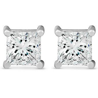 2 ct TDW Prinzessin Schnitt Diamant Schraube wieder Ohrstecker 14k Weißgold verbessert