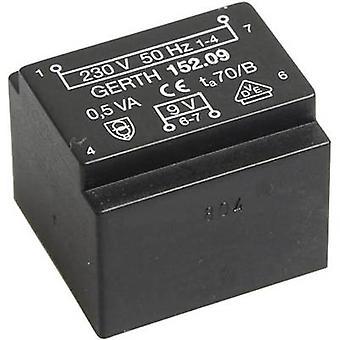 PCB mount transformator 1 x 230 V 1 x 6 V AC 0,50 VA 83 mA PT200601 Gerth