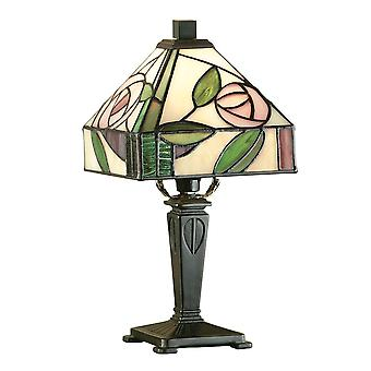 Interiors 1900 Willow Miniature Pink Rose Bedside Tiffany Lamp
