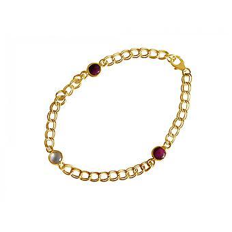 Gemshine Bracelet Gold plaqué Ruby Rose Quartz Red Pink Chain Smooth