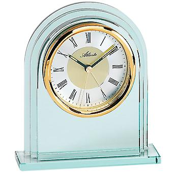 Atlanta 3034/9 style clock table clock quartz analog golden with glass