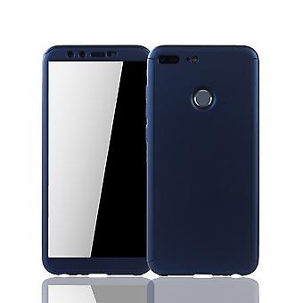 Huawei honor 9 Lite ambulant foretage en opringning shell beskyttelse tilfælde fuld dække tank beskyttelse glas blå