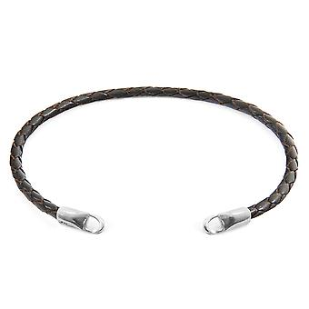 Anchor & Crew Dark Brown CUSTOM Bracelet Braided Leather and Silver Line