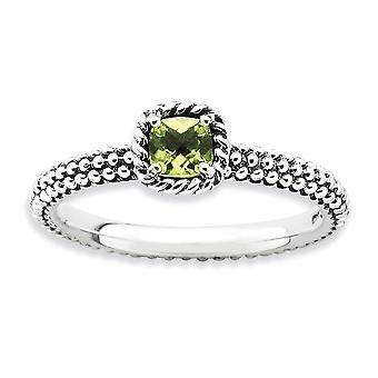 2.5mm 925 Sterling Silver Prong set finish Stackable Expressions Checker cut Peridot Ring Jewelry Gifts for Women - Ring