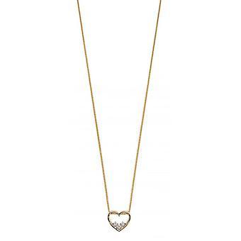 Elements Gold Diamond Dainty Open Heart Pendant - Gold