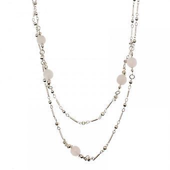 Bcharmd Silver Plated Rose Quartz Long Necklace