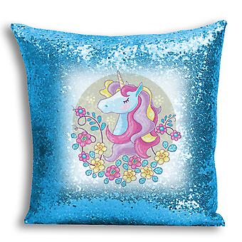 i-Tronixs - Unicorn Printed Design Blue Sequin Cushion / Pillow Cover with Inserted Pillow for Home Decor - 5