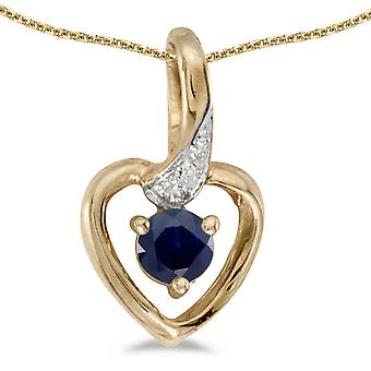 LXR 14k geelgoud ronde saffier en diamant hart hanger 0.22ct