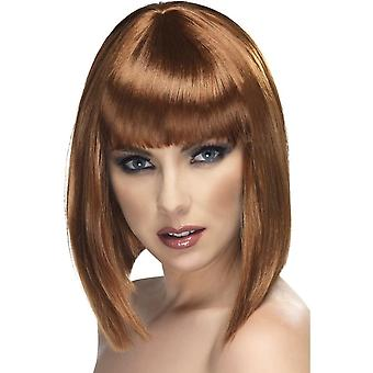 Short Brown Straight Wig, Glam Wig, Brown, Short, Blunt with Fringe