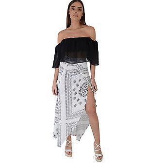 Biały Lovemystyle drukowane długa spódnica z przodu Split