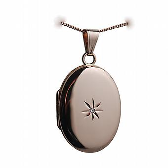 9ct Rose Gold 27x20mm diamond star set oval Locket with a curb Chain 16 inches Only Suitable for Children