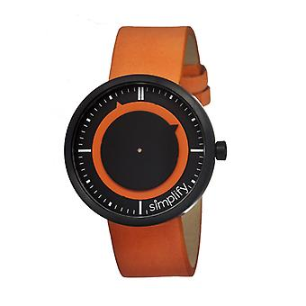 Simplify The 700 Leather-Band Unisex Watch - Orange/Black