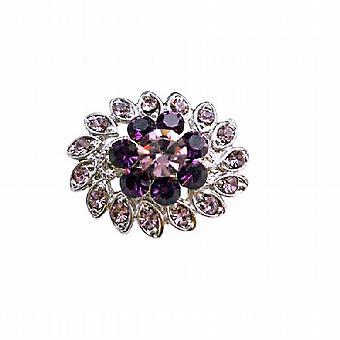 Simulado de luz & escuro ametista cristal flor vestido broche Pin