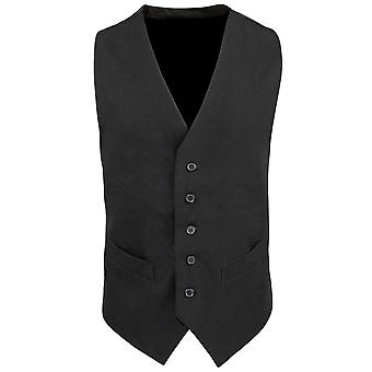 Premier Mens Lined Polyester Waistcoat / Catering / Bar Wear (Pack of 2)