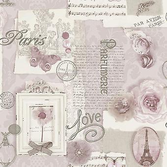 Arthouse Felicity Soft Pink Paris kærlighed sommerfugl metallisk creme Pink tapet