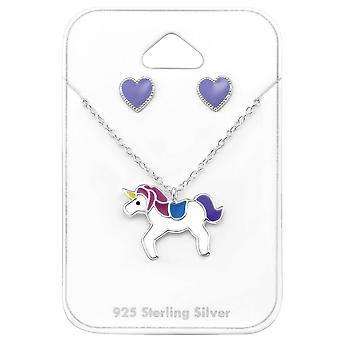 Unicorn Sterling Silver Necklace and Earring Set
