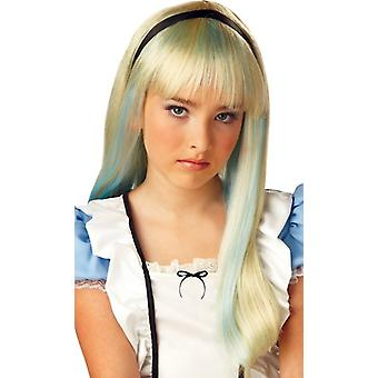 Alice In Wonderland lang blond Tween meisjes kostuum pruik