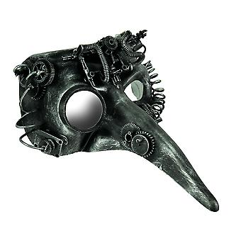 Steamzanni Metallic Silver Long Nose Steampunk Adult Costume Mask